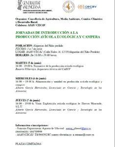 JORNADAS DE INTRODUCCION A LA PRODUCCION AVICOLA ECOLOGICA Y CAMPERA